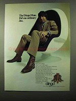 1971 Dingo Boots Ad - Joe Namath - Egg Chair