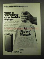 1971 Oasis Water Fountain Ad - Warranty Holds Water