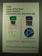 1971 True Cigarettes Ad - The Back of The Pack