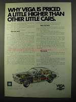 1971 Chevy Vega Car Ad - Priced a Little Higher Than