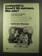 1971 Continental Assurance Ad - Vs. Brand X Insurance