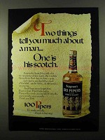 1971 Seagram's 100 Pipers Scotch Ad - About a Man