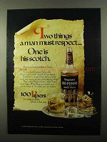 1971 Seagram's 100 Pipers Scotch Ad - Man Must Respect