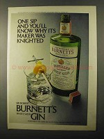 1971 Burnett's White Satin Gin Ad - One Sip