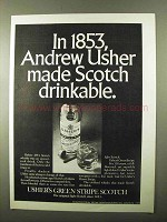 1971 Usher's Green Stripe Scotch Ad - Andrew Usher
