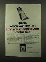 1971 Valvoline Motor Oil Ad - Last Time You Changed