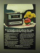 1971 Westclox Clock Radio Ad - For Wrong Reason