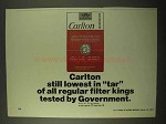 1971 Carlton Cigarettes Ad - Lowest In Tar