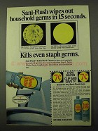 1971 Sani-Flush Toilet Bowl Cleaner Ad - Wipes Germs
