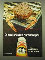 1971 Dow Oven Cleaner Ad - Crab About Hamburgers