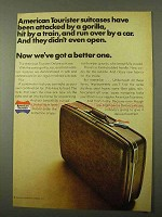1971 American Tourister Deluxe Suitcase Ad - A Gorilla