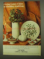 1971 Lenox China Ad - Fjord Vase, Holiday Platter +