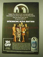 1971 Ultra Ban 5000 Deodorant Ad - Keeps You Drier