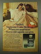 1971 Vicks NyQuil Ad - Nighttime Colds Medicine