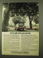 1971 American Medical Association Ad - Don't Walk Ride
