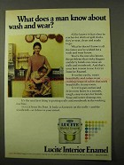 1971 Du Pont Lucite Wall Paint Ad - About Wash and Wear