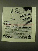 1971 TDK SD Cassette Tape Ad - Listen to Superior Music