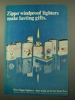 1971 Zippo Cigarette Lighters Ad - Lasting Gifts