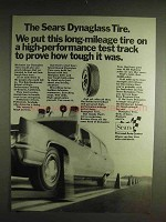 1971 Sears Dynaglas Tire Ad - Long-Mileage Tire