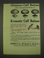 1913 Krementz Cuff Buttons Ad - 37K, 43K and 52K