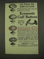 1913 Krementz Cuff Buttons Ad - 35K, 36K, 40K and 41K