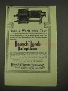 1913 Bausch and Lomb Balopticon Stereopticon Ad