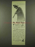 1912 Hartford Insurance Ad - His Work Done