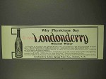 1912 Londonderry Lithia Spring Water Ad - Physicians