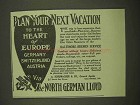 1912 North German Lloyd Cruise Ad - Heart of Europe