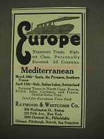 1912 Raymond & Whitcomb Cruise Ad - Europe