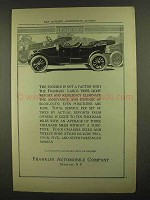 1911 Franklin Cars Ad - Tire Trouble is Not a Factor