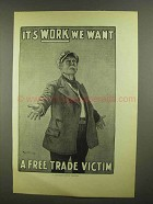 1910 Illustration of an English Poster - Free Trade