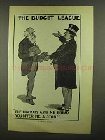 1910 Illustration of an English Poster - Budget League - Liberals