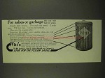 1910 Witt's Garbage Can Ad - For Ashes or Garbage
