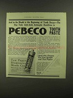 1909 Pebeco Tooth Paste Ad - Acid In The Mouth