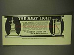 1909 The Best Light Co. Ad