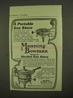 1909 Manning-Bowman Alcohol Gas Stove Ad - Portable