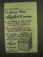 1909 Huyler's Cocoa Ad - The Best in The World