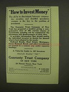 1909 Guaranty Trust Company of New York Ad - Invest