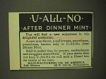 1909 Manufacturing Co. U-All-No After Dinner Mint Ad