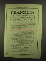 1908 Franklin Model H Touring Car Ad - Excessive Weight