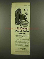 1908 Kodak 1A Folding Pocket Kodak Special Camera Ad