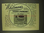 1908 Whitman's Fussy Package Chocolates Ad
