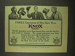 1908 Knox Hats Ad - Three Generations of Men