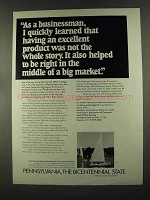 1972 Pennsylvania Department of Commerce Ad - Product