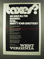 1972 West Virginia Department of Commerce Ad - Taxes