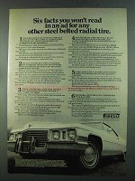 1972 Pirelli Cinturato CN-75 Tire Ad - Six Facts