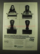 1972 Pitney-Bowes Addresser-Printer Ad - Same Thing