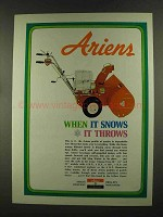 1972 Ariens Sno-Thro Ad - When it Snows it Throws