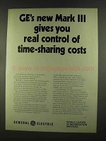 1972 G.E. Mark III Computer Time Sharing Ad - Control